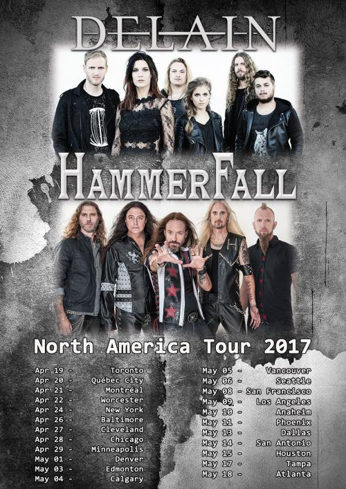 DELAIN to embark on US co-headline tour with HAMMERFALL