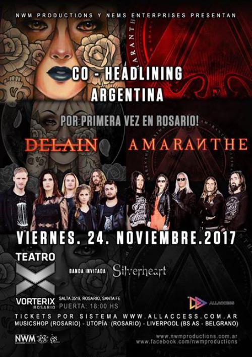 DELAIN announces co-headline show with AMARANTHE in Argentina